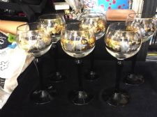 6 X TALL WINE / HOCK HIGHLY GILDED GLASSES ETCHED GRAPES & VINE MOTIF BLACK STEM